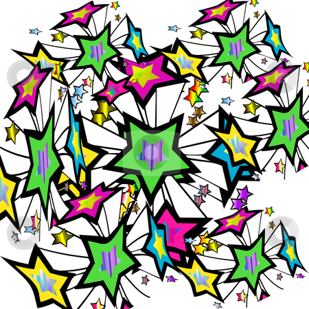 Colourful Star Burst stock photo, Colorful stars bursting through the air by CHERYL LAFOND