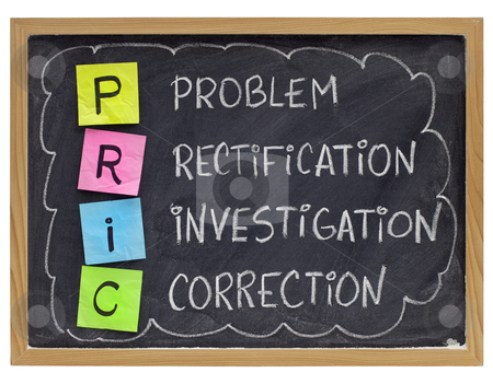 Corrective action loop concept stock photo, PRIC (Problem, Rectification, Investigation, Correction) - good quality management practice - sticky notes and white chalk handwriting on blackboard by Marek Uliasz