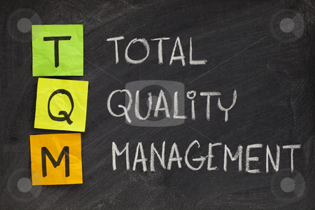 Total quality management stock photo, TQM acronym (total quality management) - white chalk handwriting and sticky notes on blackboard by Marek Uliasz