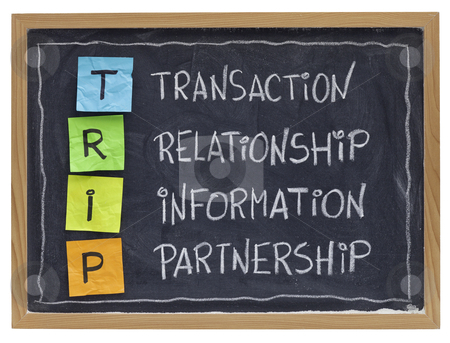 Business relationship and partnership  concept stock photo, successful customer supplier co-operation -TRIP (transaction, relationship, information, partnership) - business acronym explained with color sticky notes and white chalk handwriting on blackboard by Marek Uliasz