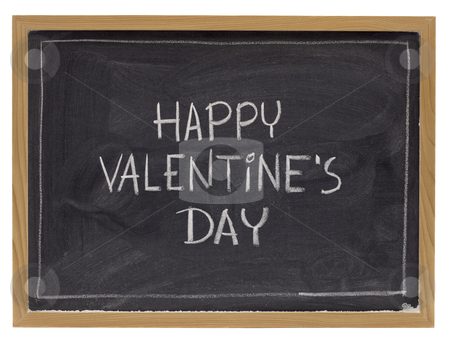 Happy valentine day on blackboard stock photo, happy valentine day - white chalk handwriting on blackboard, isolated on white by Marek Uliasz