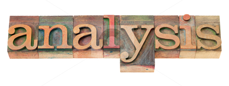 Analysis word in letterpress type stock photo, analysis word in vintage wooden letterpress printing blocks, stained by color inks, isolated on white by Marek Uliasz