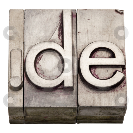 Dot DE - internet domain for Germany stock photo, dot DE - internet country domain  for Germany,  grunge metal letterpress printing blocks, stained by ink, isolated on white by Marek Uliasz