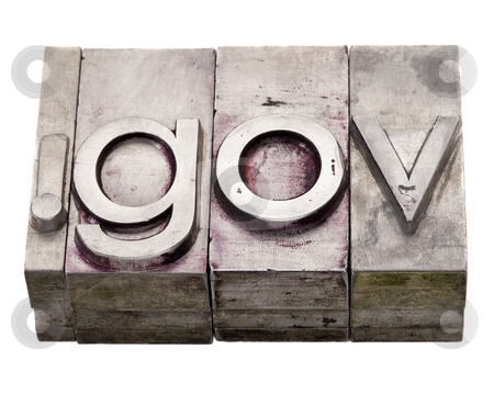 Dot gov - government internet domain stock photo, dot gov - internet government domain extension in vintage grunge metal letterpress printing blocks, stained by color inks, isolated on white by Marek Uliasz