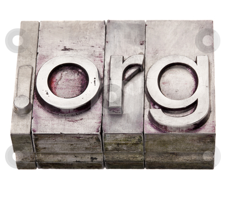Dot org - organization internet domain stock photo, dot org - non-profit organization internet  domain extension in vintage grunge metal letterpress printing blocks, stained by color inks, isolated on white by Marek Uliasz