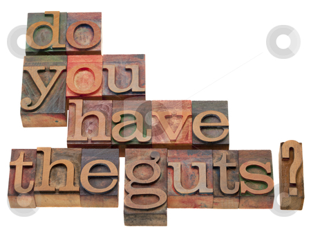 Do you have the guts? stock photo, Do you have the guts - question in vintage wooden letterpress printing block, isolated on white by Marek Uliasz