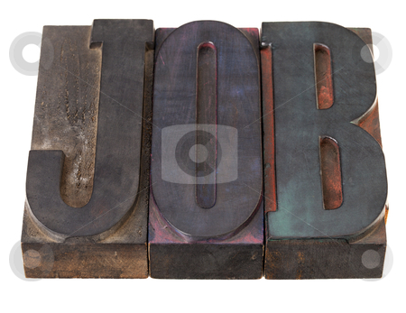 Job - word in letterpress type stock photo, job - word in vintage wooden lettepress prinitng blocks, stained by color inks, isolated on white by Marek Uliasz