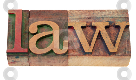 Law - word in letterpress type stock photo, law - word in vintage wooden letterpress printing blocks, stained by color inks, isolated on white by Marek Uliasz
