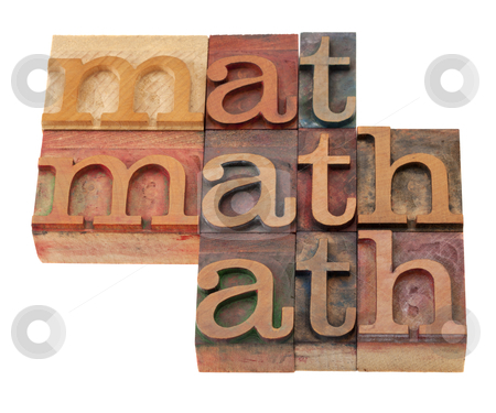 Math word abstract in letterpress type stock photo, math word abstract in vintage wooden letterpress printing blocks, stained by color inks, isolated on white by Marek Uliasz