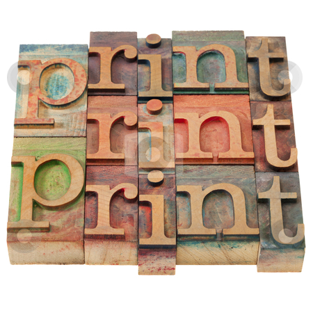 Print word abstract stock photo, print word abstract in vintage wooden letterpress printing blocks, stained by color inks, isolated on white by Marek Uliasz