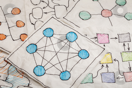 Network diagrams - napkin doodle stock photo, different network schematics sketched on white napkins by Marek Uliasz
