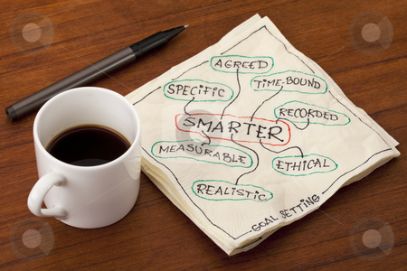 Smarter goal setting stock photo, SMARTER acronym (specific, measurable,  agreed, realistic, time-bound, ethical, recorded) - goal setting methodology - napkin doodle with coffee cup by Marek Uliasz