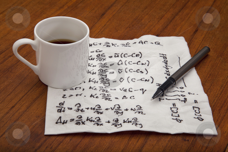Mathematical equations of physics stock photo, mathematical equations of physics - handwriting on a napkin with espresso coffee cup on table by Marek Uliasz