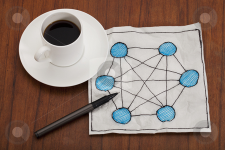Network concept on napkin stock photo, concept of fully connected network (mesh) - napkin doodle with espresso coffee cup on table by Marek Uliasz