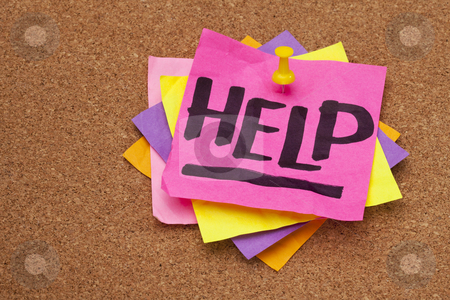 Help posted on bulleting board stock photo, help - word handwritten on a stack of sticky notes posted on cork bulletin board by Marek Uliasz