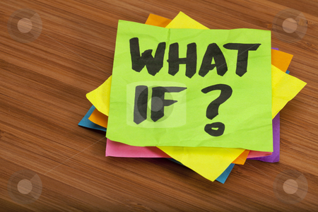 What if question stock photo, what if question - stack of color sticky notes on wooden (bamboo) background by Marek Uliasz