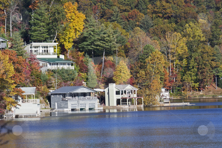 Autumn lakefront homes stock photo, lakefront vacation homes around a North Carolina mountain lake by Lee Barnwell
