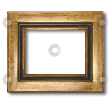 Frame for paintings or pictures, isolated stock photo, Picture frame in gold leaf with beveled center, isolated with shadow and clipping path by Christian Delbert