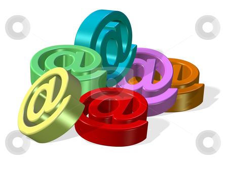 Email symbols stock photo, 3d render of colorful email symbols in a heap by Rajar Reddi