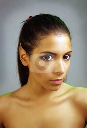 Beautiful Teen Latina Fairy or Nymph stock photo, Close-up of a lovely young Latina fairy or nymph with pointed ears and large eyes.  by Carl Stewart