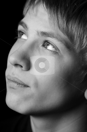 Teenager stock photo, portrait of a teenager with grayscale  by Salauyou Yury