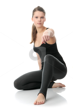 Beautiful young woman doing exercise stock photo, Beautiful young woman doing exercise , isolated  by Piotr_Marcinski
