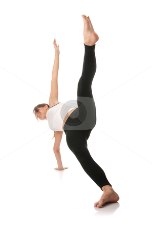 Aerobics stock photo, Physical training (aerobics) of beautiful young woman isolated on white background   by Piotr_Marcinski