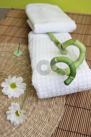 Spa design with bamboo stock photo, Spa design with lucky bamboo on towel by Piotr_Marcinski