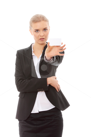 Beautiful businesswoman with business card stock photo, Beautiful businesswoman with business card, isolated on white background  by Piotr_Marcinski
