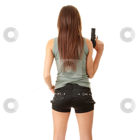 Dengarouse girl stock photo, Young caucasian woman with gun, isolated on white background by Piotr_Marcinski