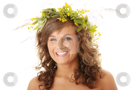 Spring woman stock photo, Spring woman with wreath on head isolated on white background by Piotr_Marcinski
