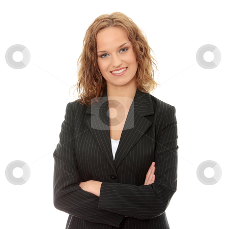 Young happy businesswoman stock photo, Young happy businesswoman, isolated on white  by Piotr_Marcinski