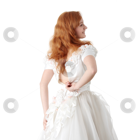 Caucasian bride stock photo, Caucasian bride in long dress isolated on white background  by Piotr_Marcinski