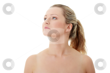Corpulent woman stock photo, Close-up, portrait of a corpulent woman, isolated on white background  by Piotr_Marcinski