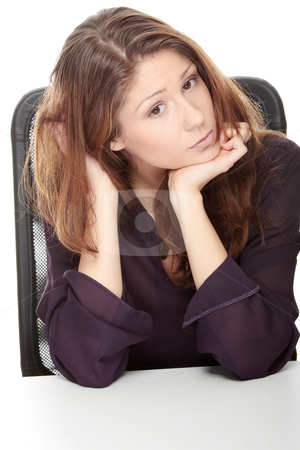 Depression stock photo, Young beautiful woman with depression, isolated by Piotr_Marcinski
