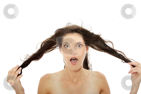 Woman and her hairs  stock photo, Front view of beauty and sexy woman holding her hairs  by Piotr_Marcinski