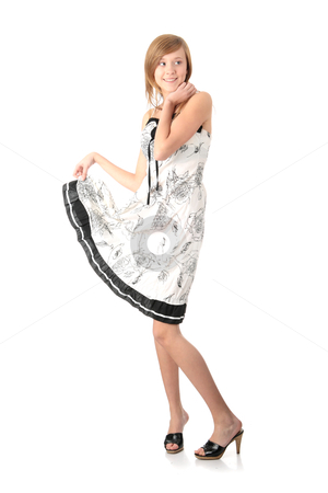 Abstract Teen model white dress very
