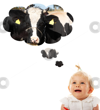 Baby girl thinking about cow (milk)  stock photo, Blond caucasian baby girl thinking about cow (milk)  by Piotr_Marcinski
