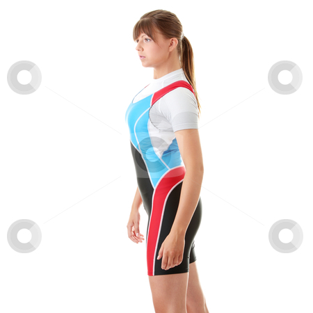 Young woman in rowing suit stock photo, Young woman in rowing suit isolated by Piotr_Marcinski
