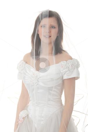 Caucasian bride in long dress stock photo, Caucasian bride in long dress isolated on white background  by Piotr_Marcinski