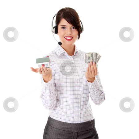 Young businesswoman stock photo, Young businesswoman in headset holding hose model and cash  by Piotr_Marcinski
