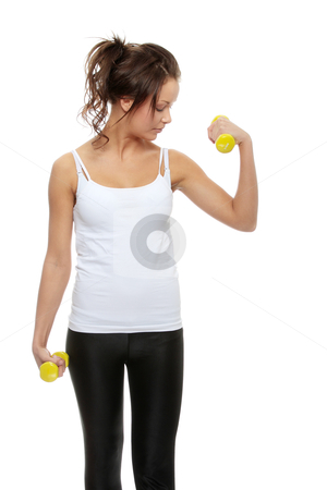 Exercising stock photo, Portrait of beautiful young woman with dumbbells by Piotr_Marcinski
