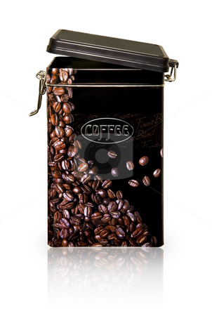 Coffee Jar stock photo, Black metallic coffee jar with coffee beans pattern, isolated on white with clipping path included by Sauromatum Design