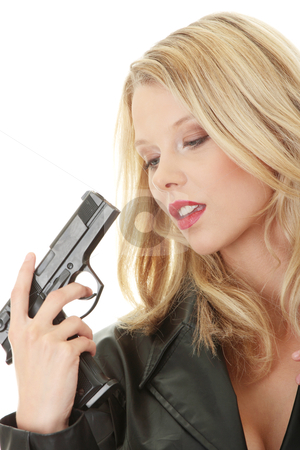 Sexy blond woman with handgun stock photo, Sexy blond woman with handgun isolated on white background  by Piotr_Marcinski
