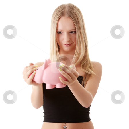 Woman holding piggy-bank  stock photo, Young casual caucasian woman holding piggy-bank isolated on white background by Piotr_Marcinski