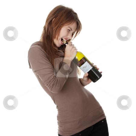 Addicted stock photo, Young caucasian woman with bottle of red wine, isolated on white by Piotr_Marcinski