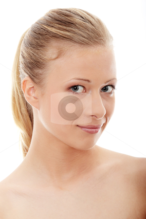 Spa stock photo, Portrait of the attractive girl without a make-up, isolated on white background  by Piotr_Marcinski