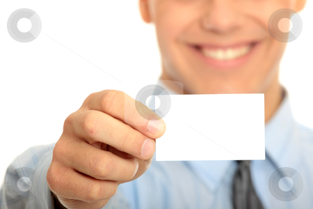 Business man with blank business card stock photo, Young happy smiling successful business man with blank business card or sign  by Piotr_Marcinski