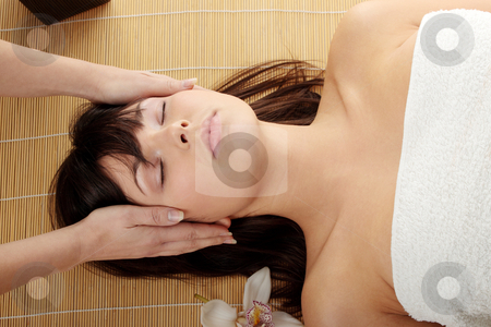 Spa stock photo, Beautiful caucasian woman getting spa treatment, isolated by Piotr_Marcinski