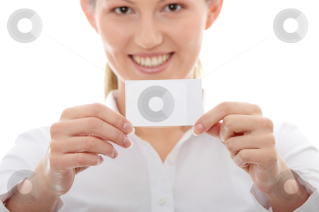 Businesswoman with business card stock photo, Businesswoman with business card, isolated on white background  by Piotr_Marcinski